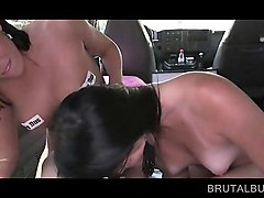 two brunette having a sex bus threesome