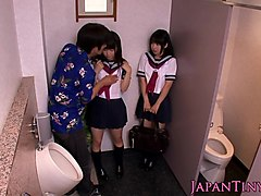 Jap schoolgirls fingered an fucked in toilet