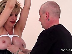 unfaithful english milf lady sonia exposes her heavy naturals
