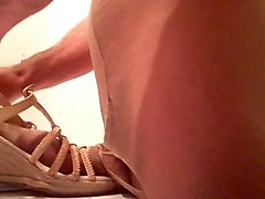 Pantyhose and nylon sock shoe fuck
