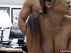 pretty busty officer fucked inside the office for cash