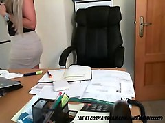 sexy blonde secretary streaming live at the office
