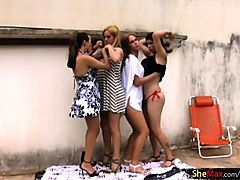 full movie of four seductive tgirls assfucking by the pool