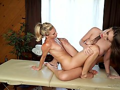 lesbian babe lena nicole is making love in scissoring position