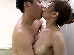 curvaceous azumi chino tries to give a proper titjob in the bathroom