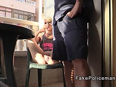 Fake cop licks blondes cunt in balcony