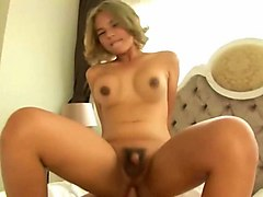 blonde shemale chick enjoys cock