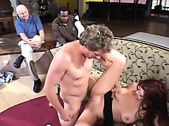 busty brunette wife trades head and gets drilled in front of her hubby