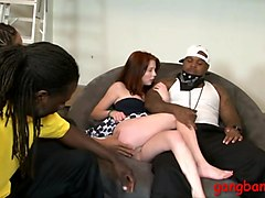 Skinny redhead analed by big black cocks