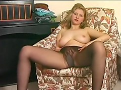 Sexy Blonde Burns A Hole In Stockings