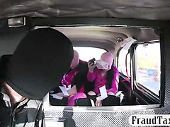 two naughty babes hardcore fucking with pervert driver