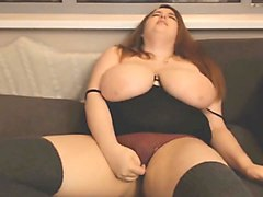 BBW babe with big tits bouncing