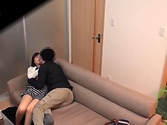 adorable jav porn model fools around with her boyfriend on the couch