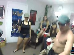 Horny college teens orgy in a dorm