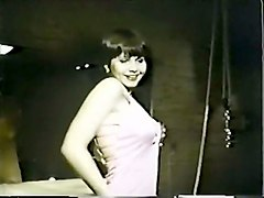 real retro porn video with busty brunette hottie on the floor