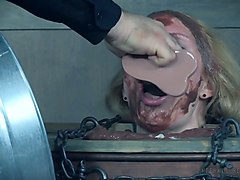 slut rain degrey is restrained and fed with spoiled food