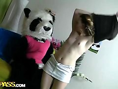 teddy bear with a pink dildo fuck girl