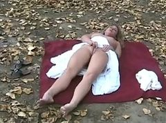milf masturbating in the woods