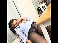 big breasted oriental babe in pantyhose fingers her aching
