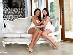 lesbian lovers alexis brill and diana dolce licking and kissing on sapphic erotica