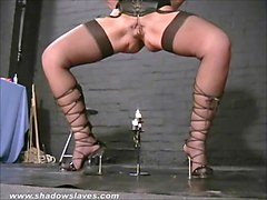 Submissive Crystel Leis tit torments and pussy punishment of blonde ### girl by clamps and weights on masochists nippl