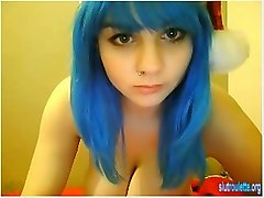 Blue Haired Big Tits Babe On Cam Merry Xmas On