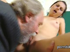 Natural college girl is teased and penetrated by her elder schoolteacher