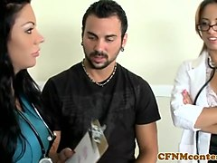 busty cfnm doctor pussypounded in threeway
