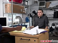 Gay white stud blowjob riding office