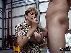Unfaithful english milf lady sonia shows off her large hooters