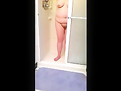 bbw drying her hairy pussy, big tits, belly after her shower