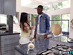 cindy asian teen fucking big black cock in kitchen
