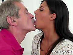 amazing babe gives grandpa a blowjob he will never forget