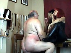 Fat old man BDSM humiliation from two Dominatrix