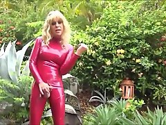 Joanna jet in red latexsuit outdoor