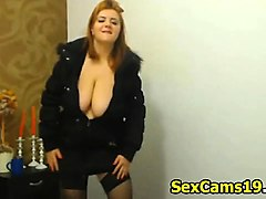 sexy dancing huge boobs girl with nice cleavage f
