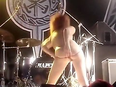 Sexy girls flashing public nude rock concert striptease
