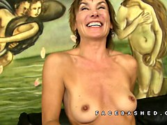 mature cougar deepthroats a fat long sword with pleasure