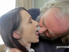 nasty college slut fucks with a horny old man
