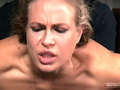 juicy and hot blonde girl restrained and orally destroyed