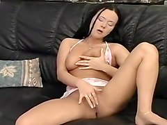 Busty Brunette Touches Her Clam At Home