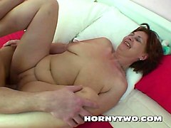 chubby shaved stepmom cannot resist her stepson to give his