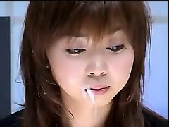 attractive japanese babe gets her pretty face covered in fr