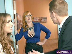Boss fucks a ###ary and a busty MILF