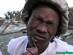 black soldier facialized after anal outdoors