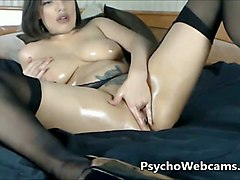 latina milf big boobs and ass in oil milk