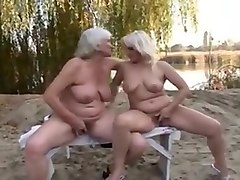 Hairy grannies fuck outdoors
