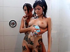 Two hot girls in the shower