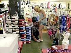Teens feet jizzed in shop