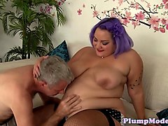 Doggystyled BBW in stockings loves sixtynine
